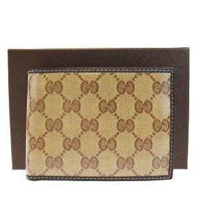 Gucci GUCCI GG Pattern Bifold Wallet Purse Coating Canvas Leather Brown