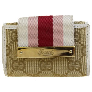 Gucci GUCCI GG Pattern Six Hook Key Case Canvas Leather Brown Italy