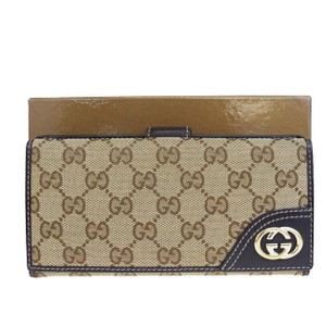 Gucci GUCCI GG Pattern Long Bifold Wallet Purse Canvas Leather Brown
