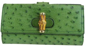 Gucci GUCCI Bamboo Long Bifold Wallet Purse Ostrich Leather Green Italy