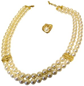 Pearlfection Pearlfection Faux Classic White South Sea Pearl Necklace and Ring