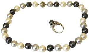 Pearlfection Pearlfection Faux Tuxedo Pearl Necklace and Ring Set 8