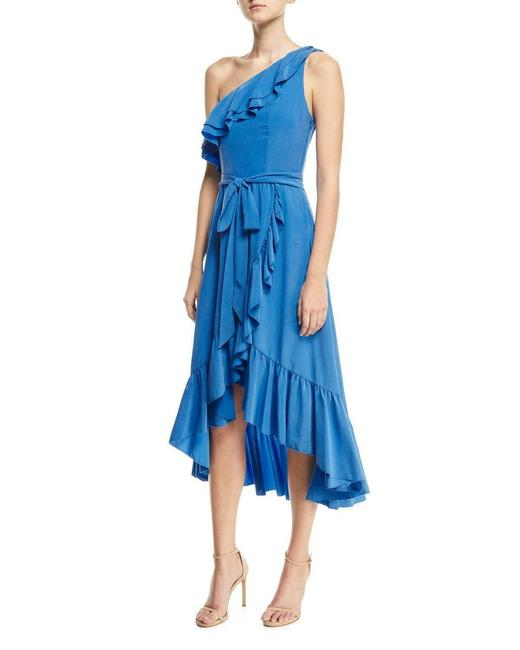 Item - Blue Damica One Shoulder Wrap Silk S New Ruffled Frills Mid-length Cocktail Dress Size 4 (S)