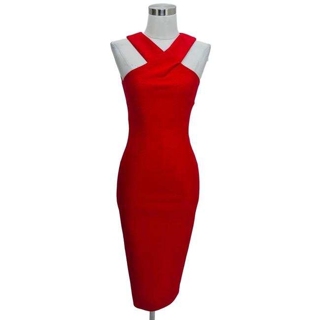 Item - Red XS Designer Solid Bodycon Neck Mid-length Formal Dress Size 0 (XS)
