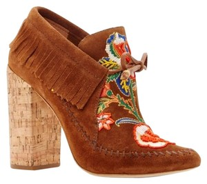 Tory Burch Embroidered Beaded Fringe Hem Brown Boots