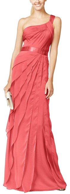Item - Pink One Shoulder Flutter Gown French Coral Long Night Out Dress Size 4 (S)