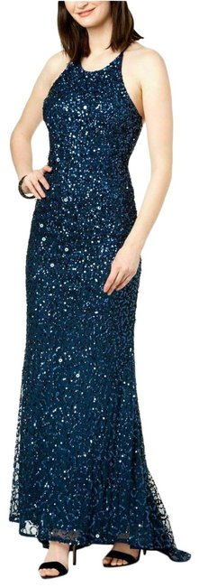 Item - Blue Sequin Beaded Halter Gown Open Back Deep Long Night Out Dress Size 12 (L)