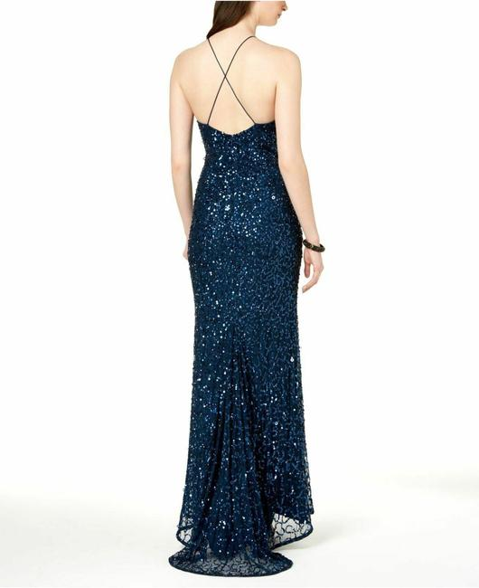 Adrianna Papell Blue Sequin Beaded Halter Gown Open Back Deep Long Night Out Dress Size 12 (L) Adrianna Papell Blue Sequin Beaded Halter Gown Open Back Deep Long Night Out Dress Size 12 (L) Image 2