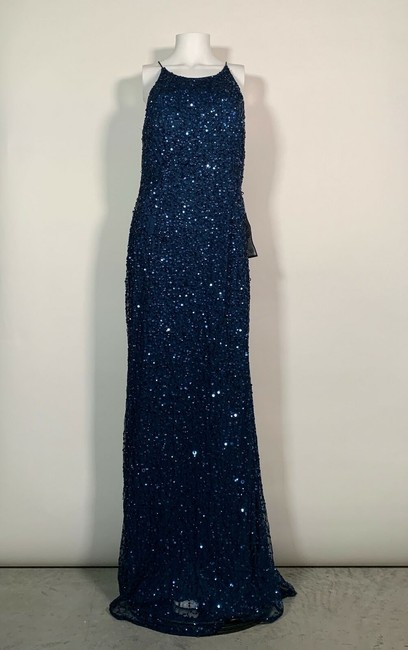 Adrianna Papell Blue Sequin Beaded Halter Gown Open Back Deep Long Night Out Dress Size 12 (L) Adrianna Papell Blue Sequin Beaded Halter Gown Open Back Deep Long Night Out Dress Size 12 (L) Image 3