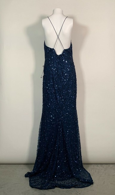 Adrianna Papell Blue Sequin Beaded Halter Gown Open Back Deep Long Night Out Dress Size 12 (L) Adrianna Papell Blue Sequin Beaded Halter Gown Open Back Deep Long Night Out Dress Size 12 (L) Image 4