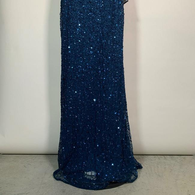 Adrianna Papell Blue Sequin Beaded Halter Gown Open Back Deep Long Night Out Dress Size 12 (L) Adrianna Papell Blue Sequin Beaded Halter Gown Open Back Deep Long Night Out Dress Size 12 (L) Image 6