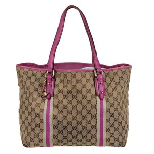 Gucci Beige Gg Canvas Canvas Vintage Tote in Pink