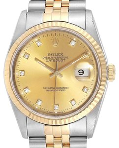 Rolex Rolex Datejust Steel 18K Yellow Gold Diamond Dial Mens Watch 16233
