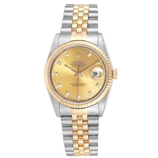 Rolex Rolex Datejust Steel 18K Yellow Gold Diamond Dial Mens Watch 16233 Image 1
