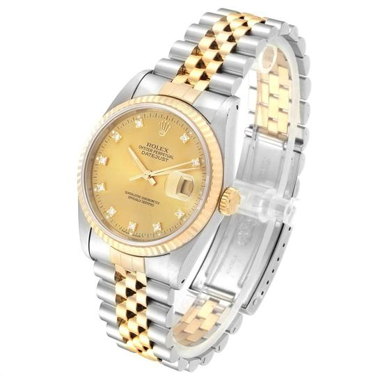 Rolex Rolex Datejust Steel 18K Yellow Gold Diamond Dial Mens Watch 16233 Image 3