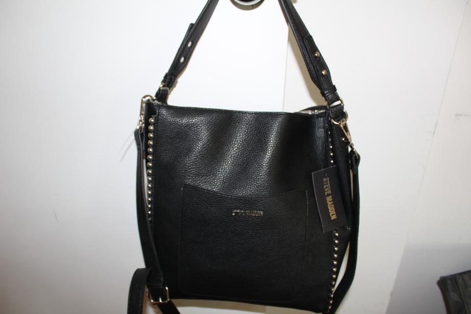 Steve Madden Chain Hobo Bmiller With Ball Black Silver Faux Leather Shoulder Bag