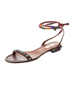 Valentino Studded Ankle Strap brown Sandals