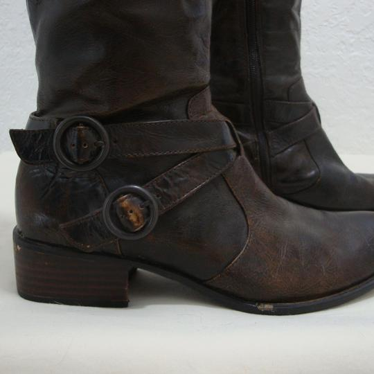 Crown by Brn Tall Distressed Equestrian Riding Buckles Brown Boots Image 3