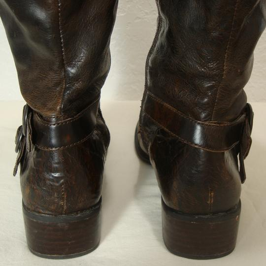 Crown by Brn Tall Distressed Equestrian Riding Buckles Brown Boots Image 4