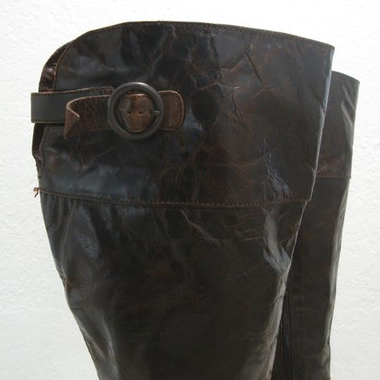 Crown by Brn Tall Distressed Equestrian Riding Buckles Brown Boots Image 5