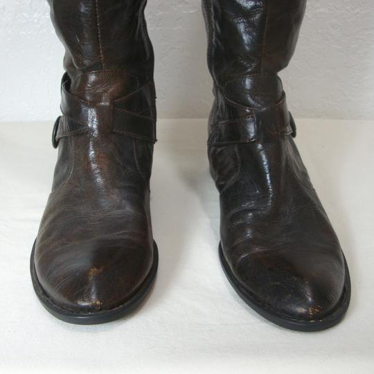 Crown by Brn Tall Distressed Equestrian Riding Buckles Brown Boots Image 6