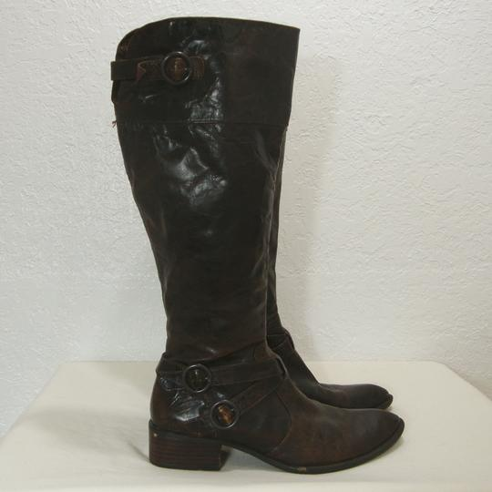 Crown by Brn Tall Distressed Equestrian Riding Buckles Brown Boots Image 8