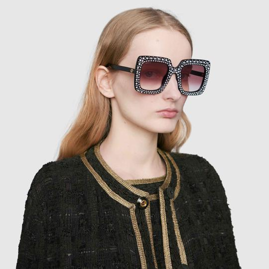 Gucci Gucci GG0148S 0148S Star Crystal Square Sunglasses Image 2