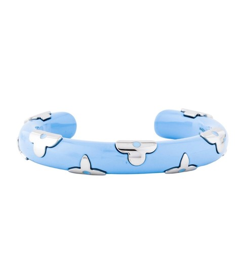 Louis Vuitton In Stores! Louis Vuitton Baby Blue & Silver Daily Monogram Bracelet Image 3