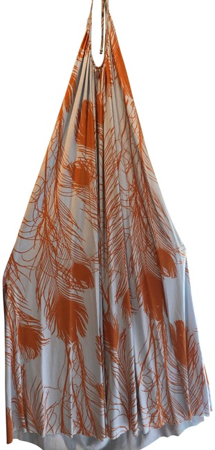 Item - Multi Colored Grey and Orange Long Casual Maxi Dress Size OS