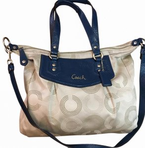 Coach Satchel in Light Gray/Blue