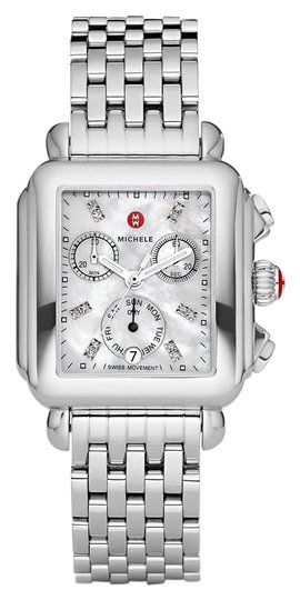 Preload https://img-static.tradesy.com/item/25914654/michele-silver-deco-stainless-mother-of-pearl-diamond-dial-mww06p000014-watch-0-1-540-540.jpg