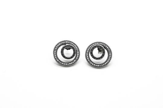 Preload https://img-static.tradesy.com/item/25914661/pandora-silver-forever-signature-in-sterling-and-cz-earrings-0-0-540-540.jpg