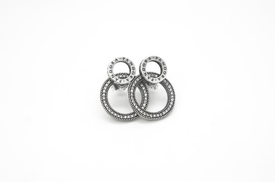 PANDORA Forever Pandora Signature Earrings in Sterling Silver and CZ Image 2