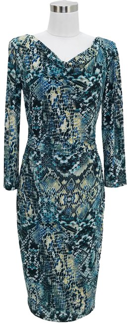 Preload https://img-static.tradesy.com/item/25914711/david-meister-blue-green-designer-small-snake-print-mid-length-workoffice-dress-size-6-s-0-1-650-650.jpg