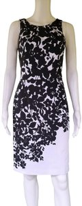 White House | Black Market short dress Black, White Sheath Floral Cotton Stretch And on Tradesy