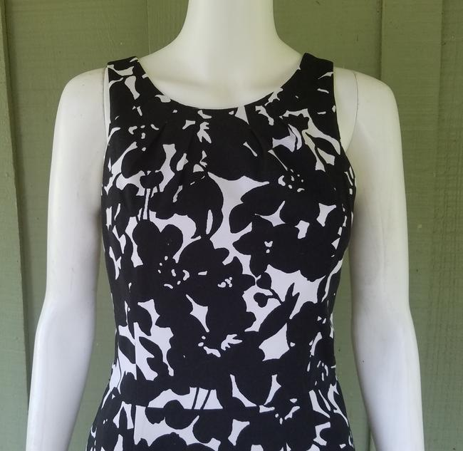 White House | Black Market short dress Black, White Sheath Floral Cotton Stretch And on Tradesy Image 1