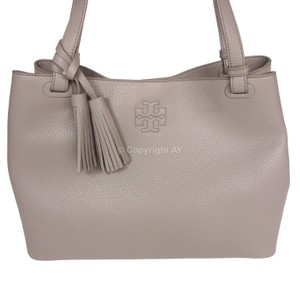 Tory Burch Thea Tassels Pebbled Leather Center Zip Tote in French Gray
