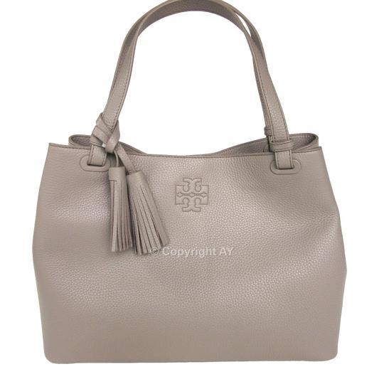Tory Burch Thea Tassels Pebbled Leather Center Zip Tote in French Gray Image 1