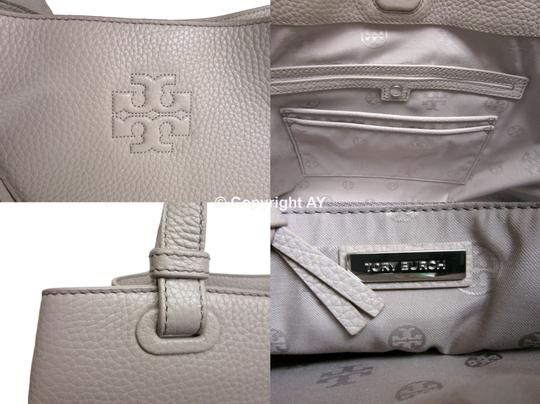 Tory Burch Thea Tassels Pebbled Leather Center Zip Tote in French Gray Image 10