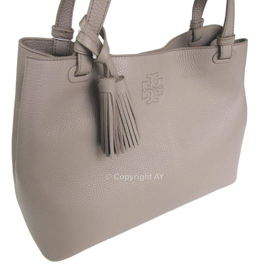 Tory Burch Thea Tassels Pebbled Leather Center Zip Tote in French Gray Image 3