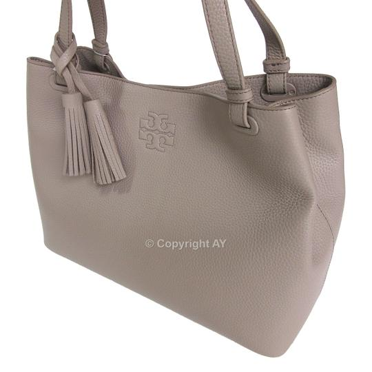 Tory Burch Thea Tassels Pebbled Leather Center Zip Tote in French Gray Image 5