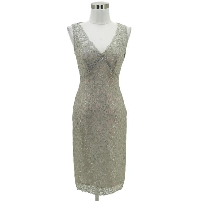 Item - Silver Gray XS Designer Sheath Lace V-neck Mid-length Night Out Dress Size 0 (XS)