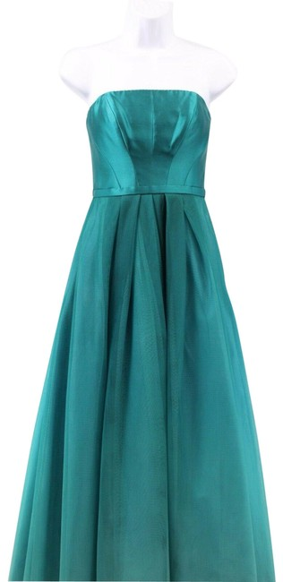 Item - Teal Strapless Tulle Evening Gown Long Formal Dress Size 2 (XS)