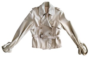 Giorgio Brato Distressed Finish Raw Edges Vintage Buttons Belted Tan/Cream Leather Jacket