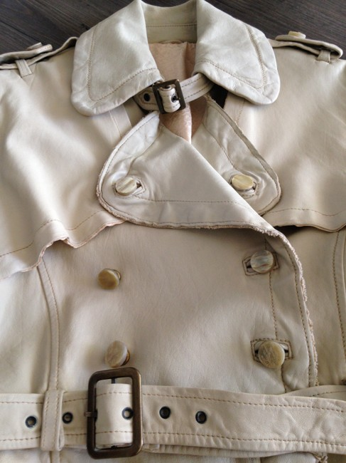 Giorgio Brato Distressed Finish Raw Edges Vintage Buttons Belted Tan/Cream Leather Jacket Image 1