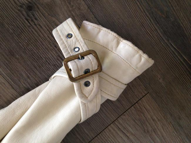 Giorgio Brato Distressed Finish Raw Edges Vintage Buttons Belted Tan/Cream Leather Jacket Image 2