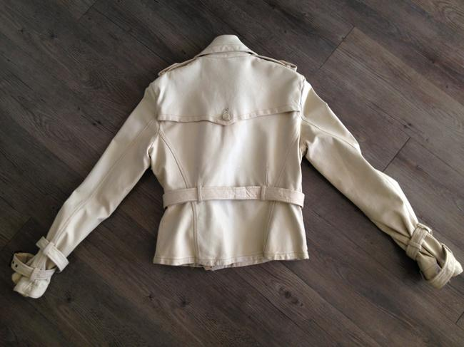 Giorgio Brato Distressed Finish Raw Edges Vintage Buttons Belted Tan/Cream Leather Jacket Image 3
