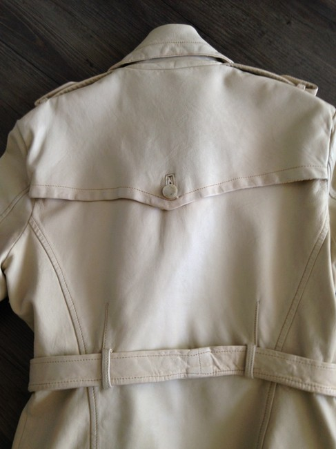Giorgio Brato Distressed Finish Raw Edges Vintage Buttons Belted Tan/Cream Leather Jacket Image 4