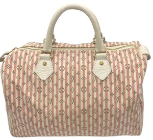 Louis Vuitton Satchel in Ivory Pink Striped Grey Rouge