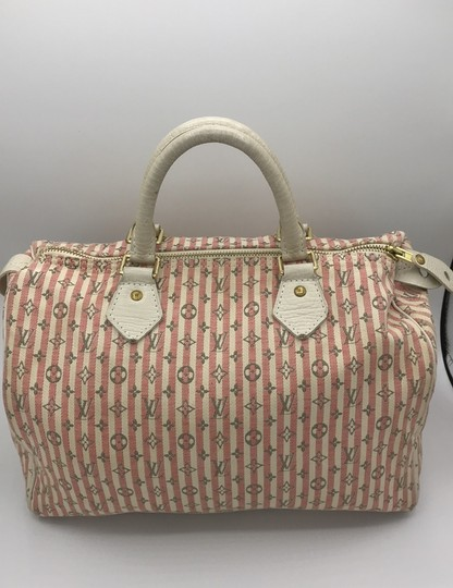 Louis Vuitton Satchel in Ivory Pink Striped Grey Rouge Image 1